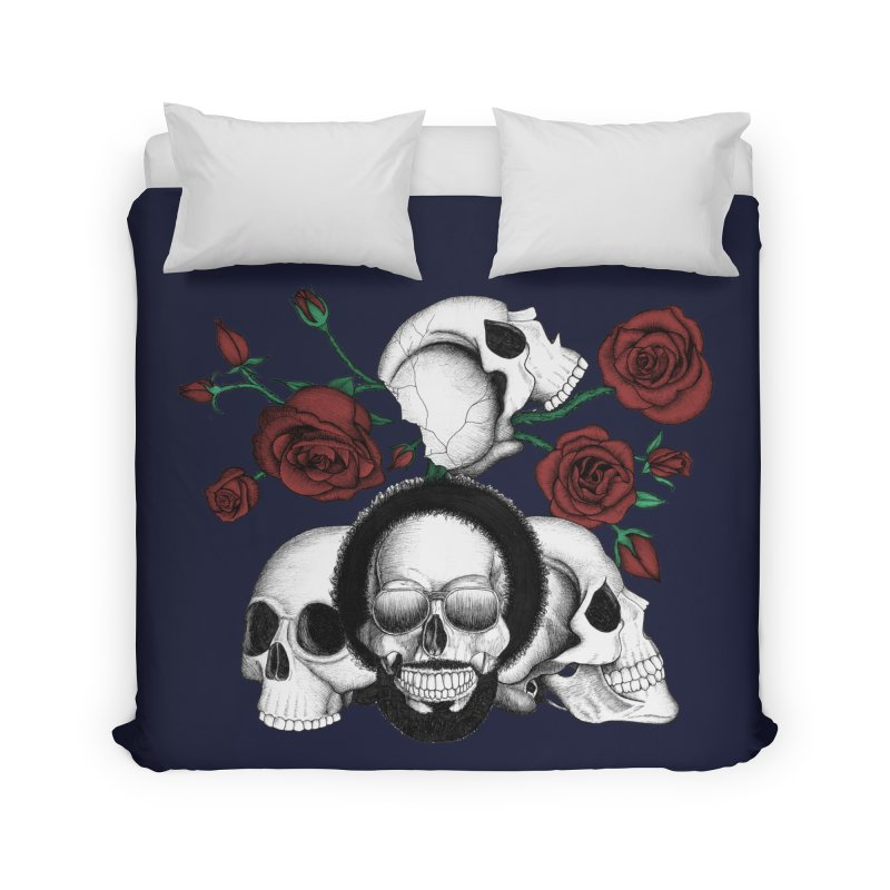 Grunge skulls and red roses (afro skull included. Color version) Home Duvet by Beatrizxe