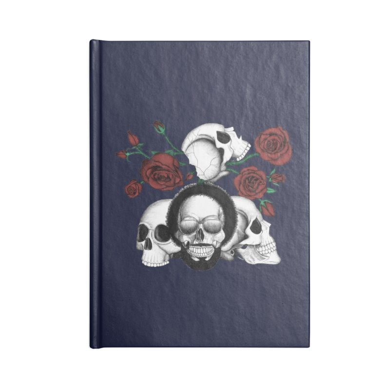 Grunge skulls and red roses (afro skull included. Color version) Accessories Notebook by Beatrizxe