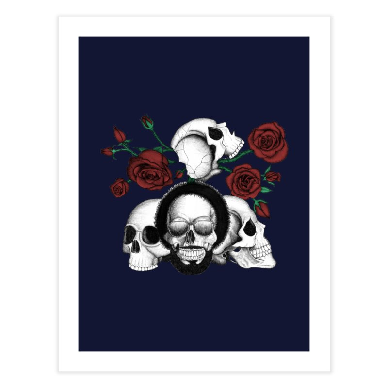 Grunge skulls and red roses (afro skull included. Color version) Home Fine Art Print by Beatrizxe