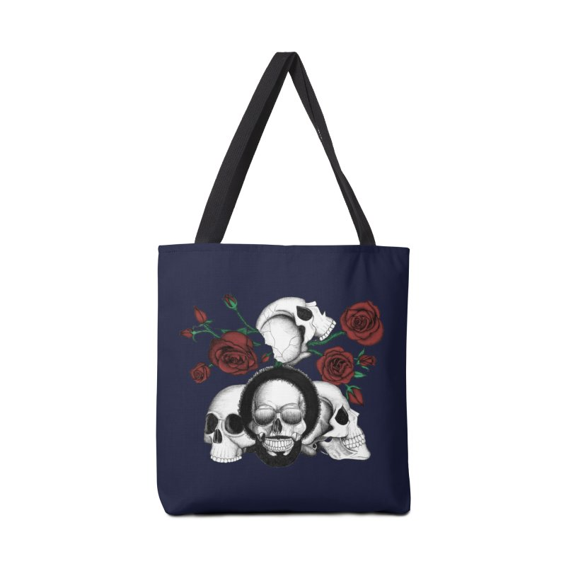 Grunge skulls and red roses (afro skull included. Color version) Accessories Bag by Beatrizxe