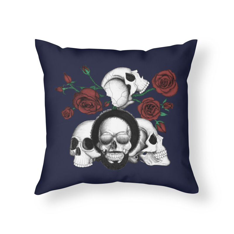 Grunge skulls and red roses (afro skull included. Color version) in Throw Pillow by Beatrizxe