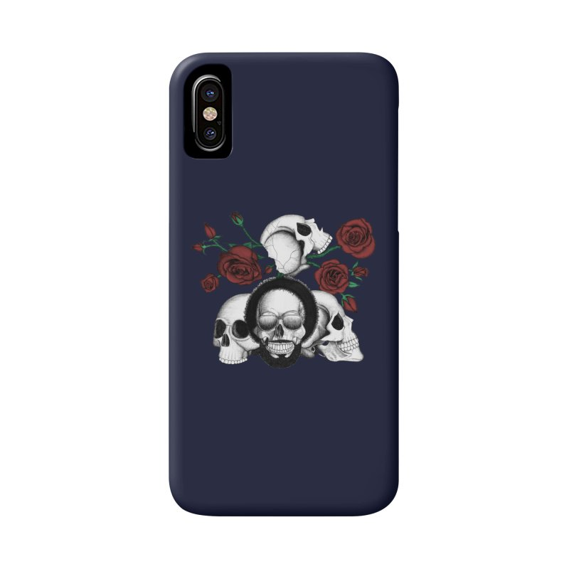 Grunge skulls and red roses (afro skull included. Color version) Accessories Phone Case by Beatrizxe