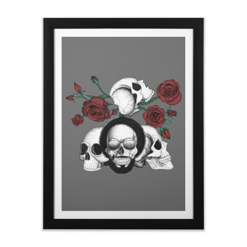 Grunge skulls and red roses (afro skull included. Color version) Home Framed Fine Art Print by Beatrizxe