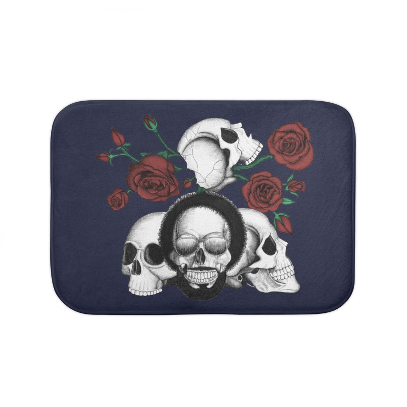 Grunge skulls and red roses (afro skull included. Color version) Home Bath Mat by Beatrizxe