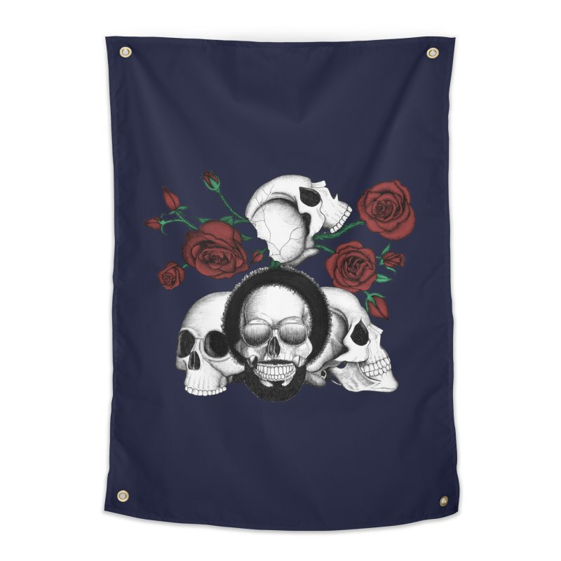 Grunge skulls and red roses (afro skull included. Color version) Home Tapestry by Beatrizxe