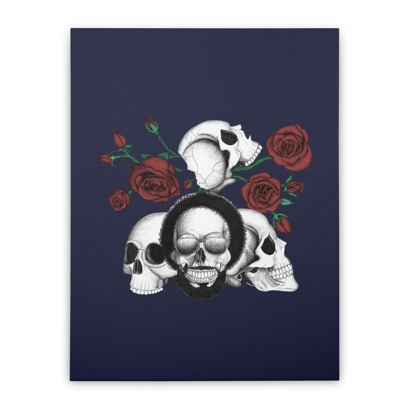 Grunge skulls and red roses (afro skull included. Color version) Home Stretched Canvas by Beatrizxe