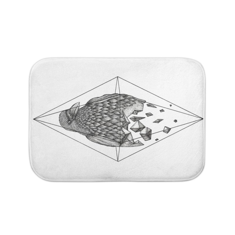 Geometric Crow in a diamond (tattoo style- Black and White version) Home Bath Mat by Beatrizxe