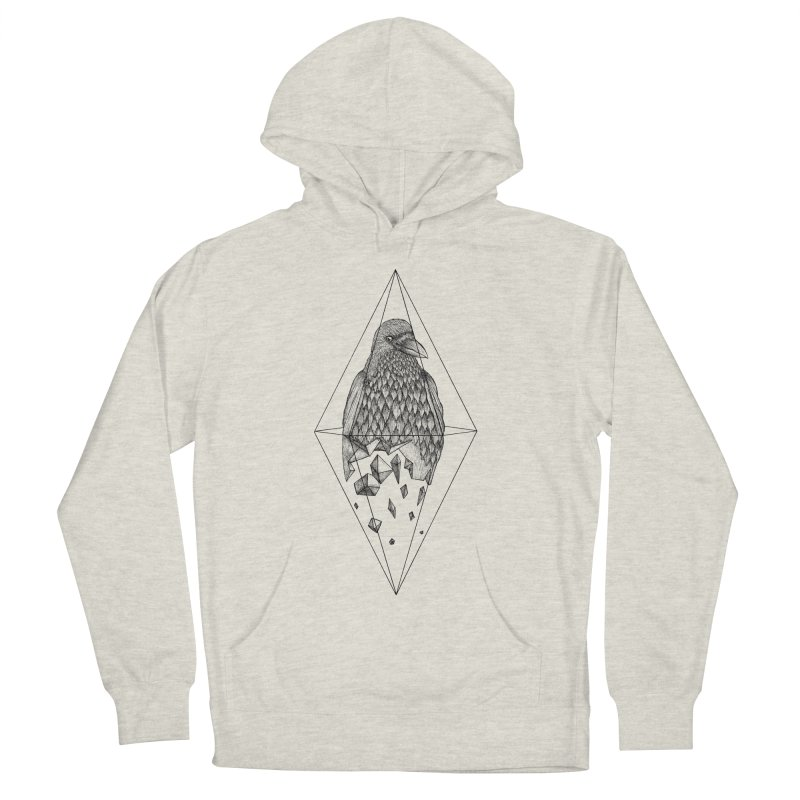 Geometric Crow in a diamond (tattoo style- Black and White version) Men's Pullover Hoody by Beatrizxe
