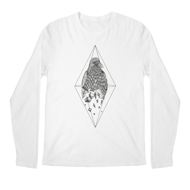 Geometric Crow in a diamond (tattoo style- Black and White version) Men's Longsleeve T-Shirt by Beatrizxe