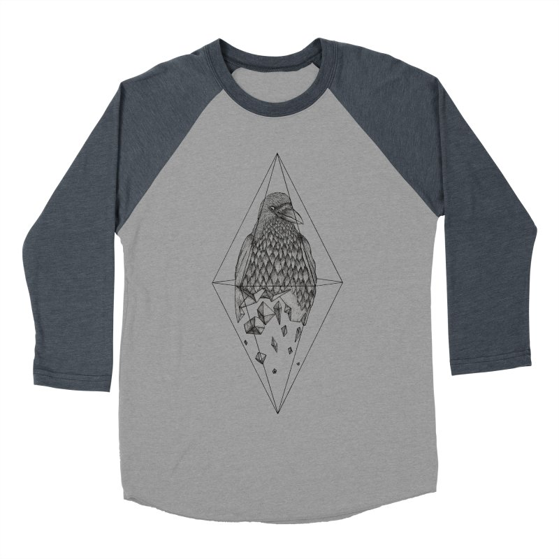 Geometric Crow in a diamond (tattoo style- Black and White version) Men's Baseball Triblend T-Shirt by Beatrizxe