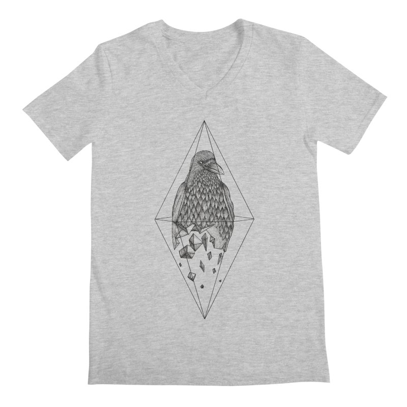 Geometric Crow in a diamond (tattoo style- Black and White version) Men's V-Neck by Beatrizxe