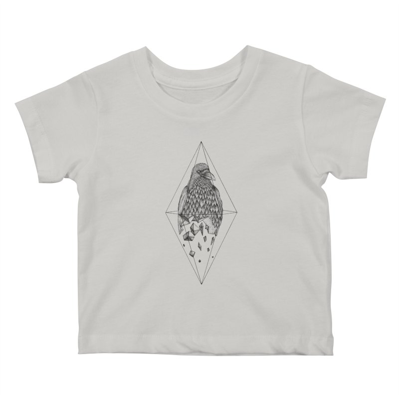 Geometric Crow in a diamond (tattoo style- Black and White version) Kids Baby T-Shirt by Beatrizxe