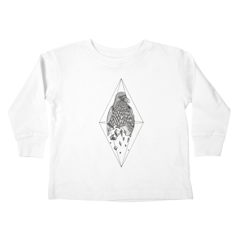 Geometric Crow in a diamond (tattoo style- Black and White version) Kids Toddler Longsleeve T-Shirt by Beatrizxe