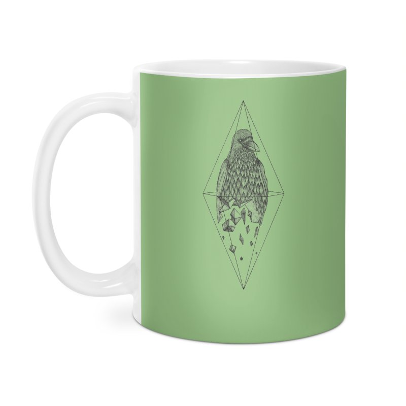 Geometric Crow in a diamond (tattoo style- Black and White version) Accessories Mug by Beatrizxe