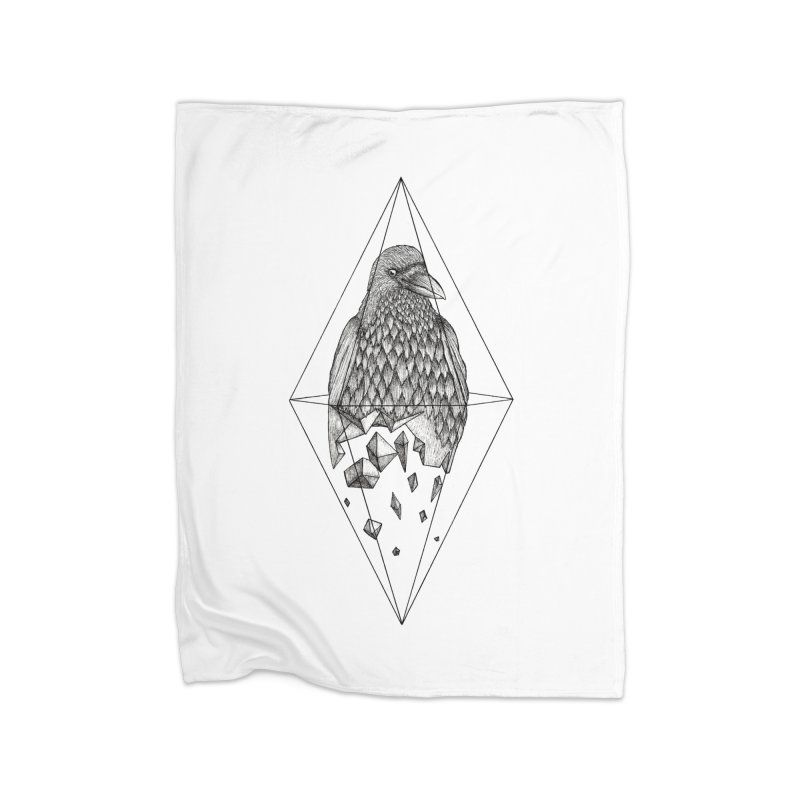 Geometric Crow in a diamond (tattoo style- Black and White version) Home Blanket by Beatrizxe