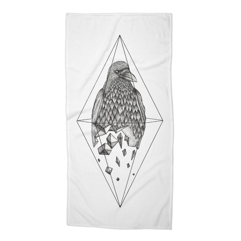 Geometric Crow in a diamond (tattoo style- Black and White version) Accessories Beach Towel by Beatrizxe