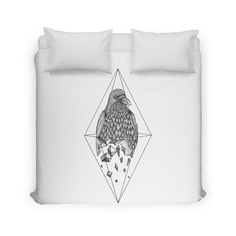 Geometric Crow in a diamond (tattoo style- Black and White version) Home Duvet by Beatrizxe