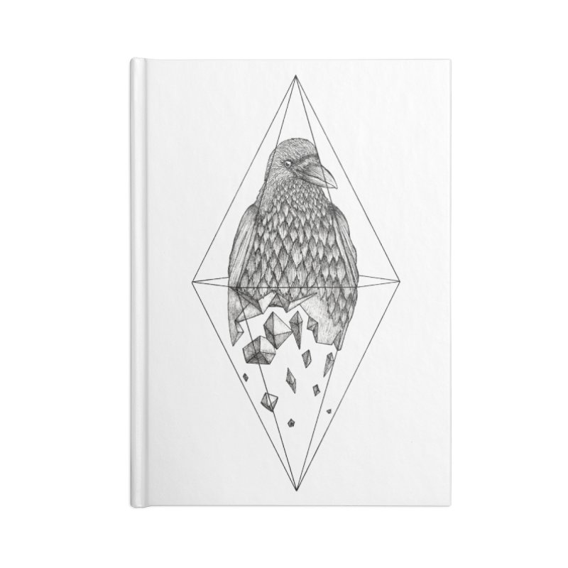 Geometric Crow in a diamond (tattoo style- Black and White version) Accessories Notebook by Beatrizxe