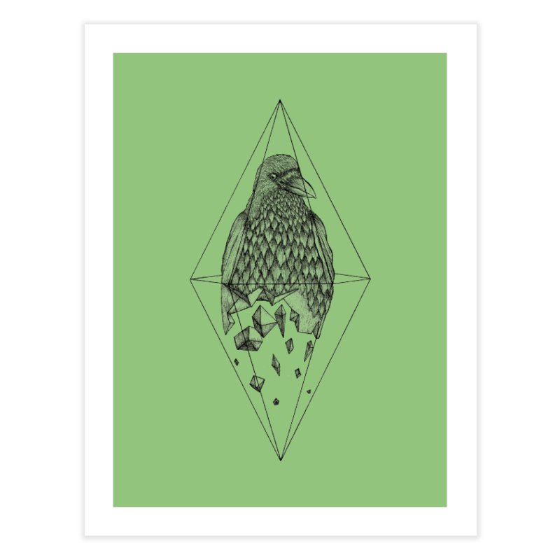 Geometric Crow in a diamond (tattoo style- Black and White version) Home Fine Art Print by Beatrizxe