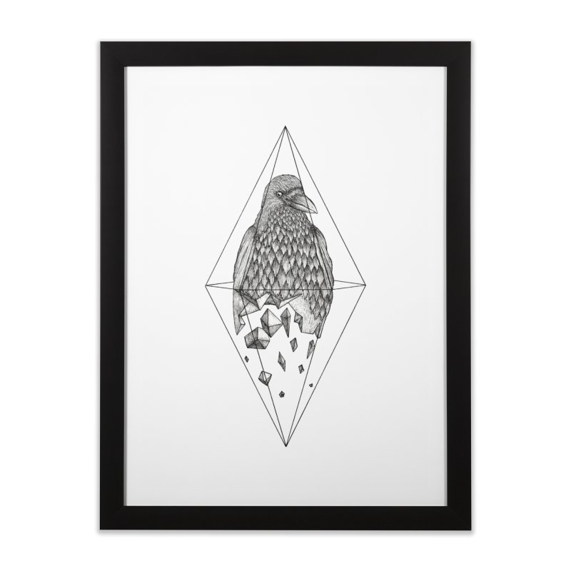 Geometric Crow in a diamond (tattoo style- Black and White version) Home Framed Fine Art Print by Beatrizxe