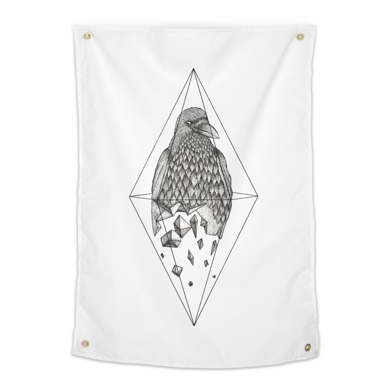 Geometric Crow in a diamond (tattoo style- Black and White version) Home Tapestry by Beatrizxe