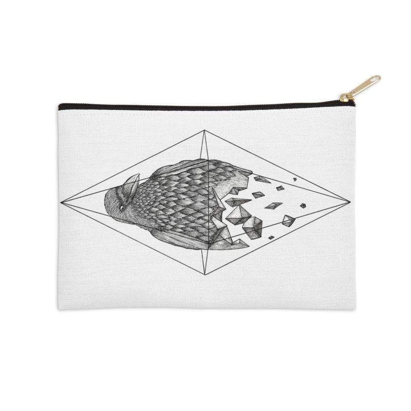 Geometric Crow in a diamond (tattoo style- Black and White version) Accessories Zip Pouch by Beatrizxe