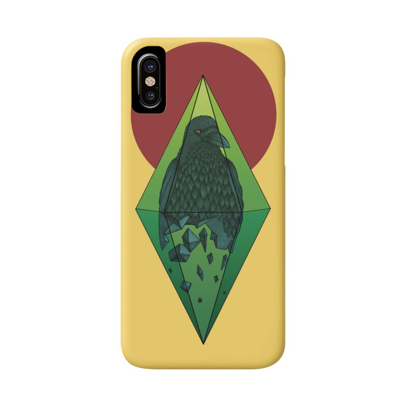 Geometric Crow in a diamond (tattoo style- Color version) Accessories Phone Case by Beatrizxe