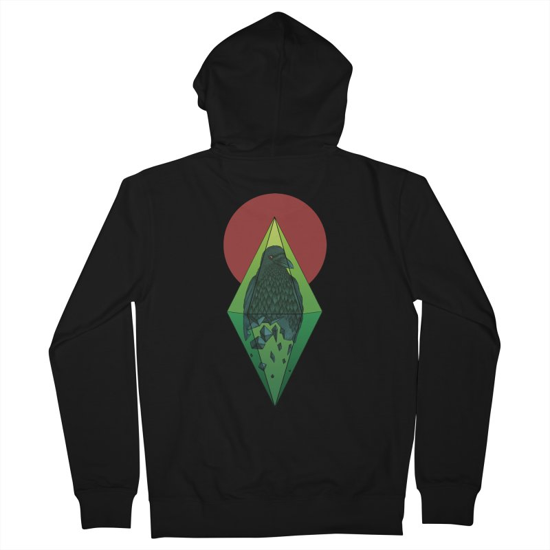 Geometric Crow in a diamond (tattoo style- Color version) Women's Zip-Up Hoody by Beatrizxe