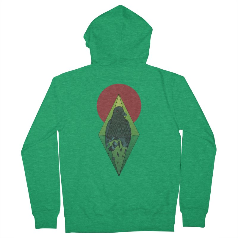 Geometric Crow in a diamond (tattoo style- Color version) Men's Zip-Up Hoody by Beatrizxe