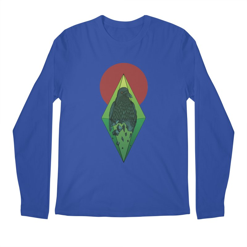 Geometric Crow in a diamond (tattoo style- Color version) Men's Longsleeve T-Shirt by Beatrizxe