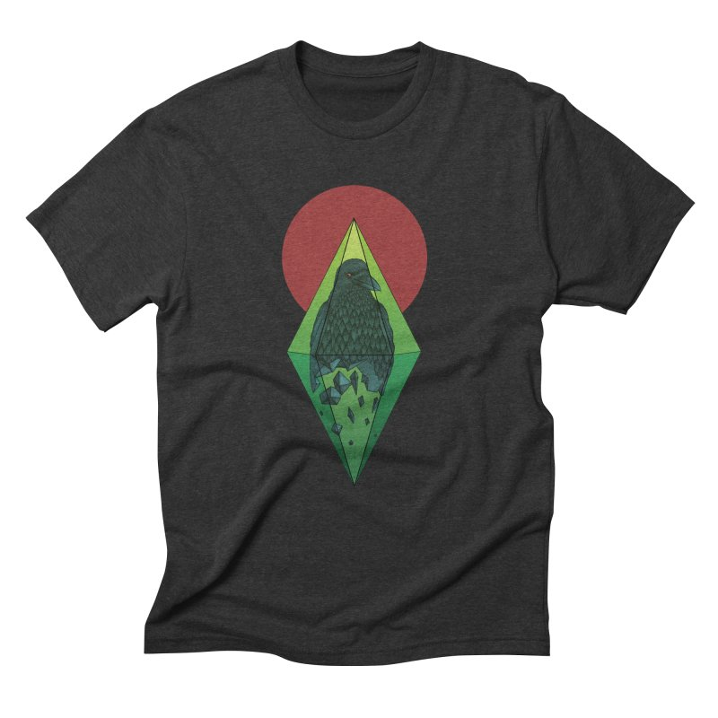 Geometric Crow in a diamond (tattoo style- Color version) Men's Triblend T-shirt by Beatrizxe