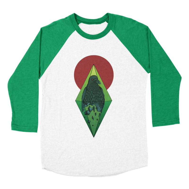 Geometric Crow in a diamond (tattoo style- Color version) Women's Baseball Triblend T-Shirt by Beatrizxe