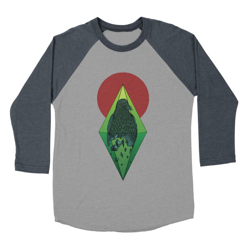 Geometric Crow in a diamond (tattoo style- Color version) Men's Baseball Triblend T-Shirt by Beatrizxe