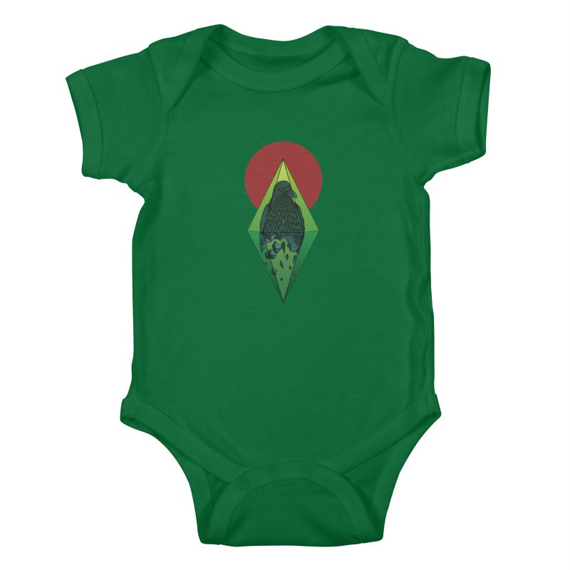 Geometric Crow in a diamond (tattoo style- Color version) Kids Baby Bodysuit by Beatrizxe