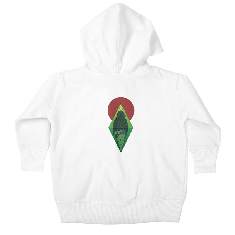 Geometric Crow in a diamond (tattoo style- Color version) Kids Baby Zip-Up Hoody by Beatrizxe