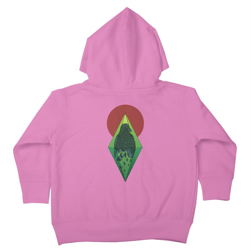 Geometric Crow in a diamond (tattoo style- Color version) Kids Toddler Zip-Up Hoody by Beatrizxe
