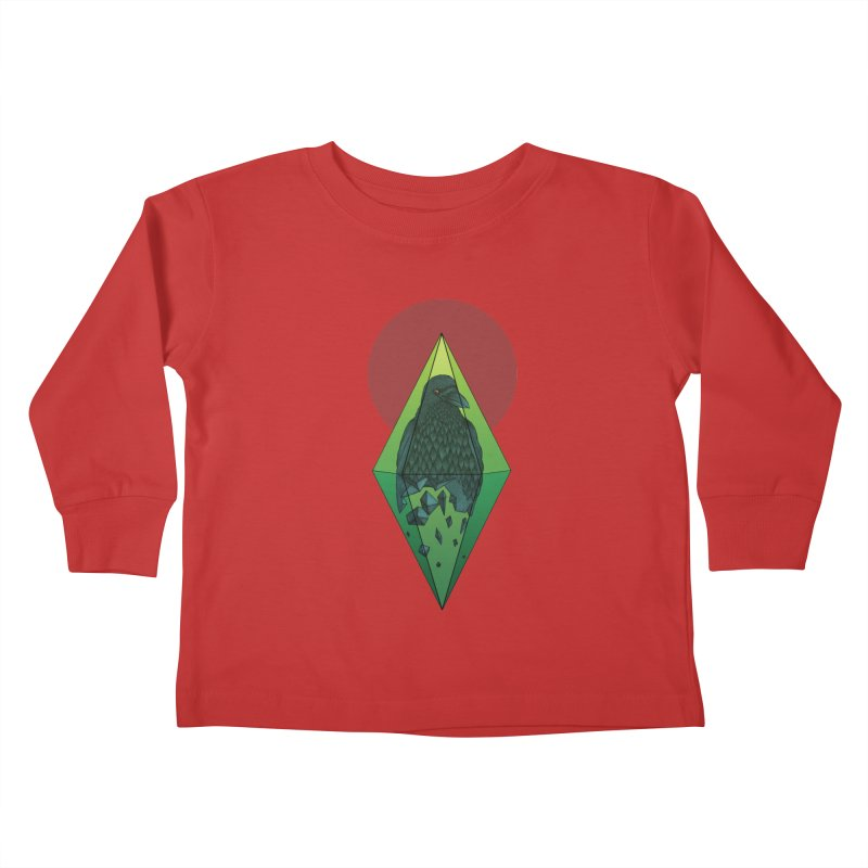 Geometric Crow in a diamond (tattoo style- Color version) Kids Toddler Longsleeve T-Shirt by Beatrizxe