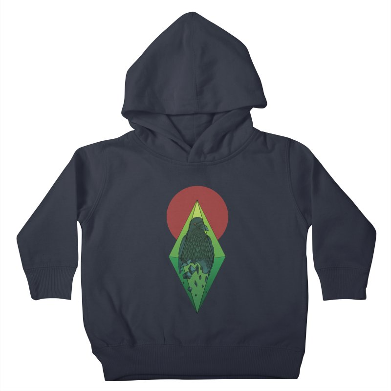 Geometric Crow in a diamond (tattoo style- Color version) Kids Toddler Pullover Hoody by Beatrizxe