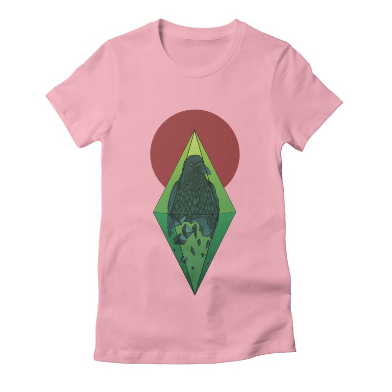 Geometric Crow in a diamond (tattoo style- Color version) Women's Fitted T-Shirt by Beatrizxe