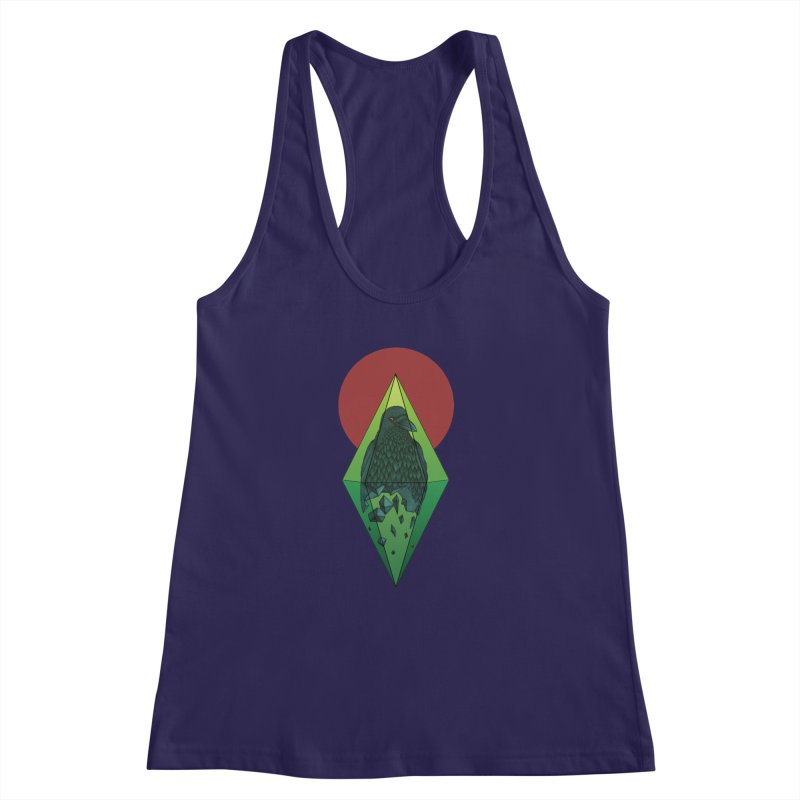 Geometric Crow in a diamond (tattoo style- Color version) Women's Racerback Tank by Beatrizxe