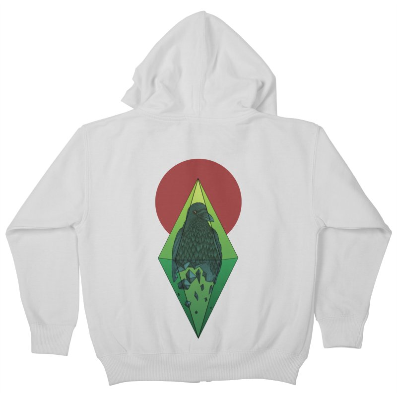 Geometric Crow in a diamond (tattoo style- Color version) Kids Zip-Up Hoody by Beatrizxe