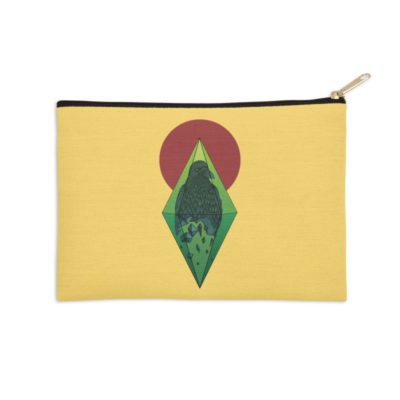 Geometric Crow in a diamond (tattoo style- Color version) Accessories Zip Pouch by Beatrizxe