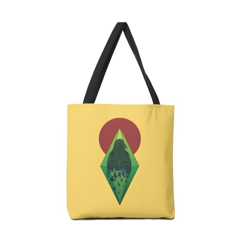 Geometric Crow in a diamond (tattoo style- Color version) in Tote Bag by Beatrizxe