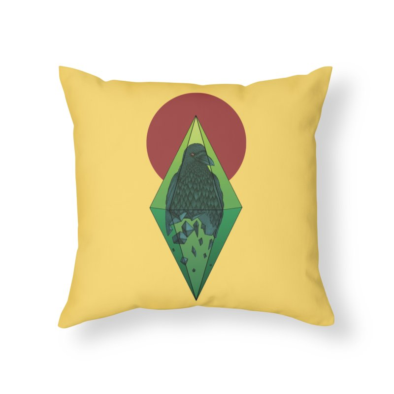 Geometric Crow in a diamond (tattoo style- Color version) Home Throw Pillow by Beatrizxe
