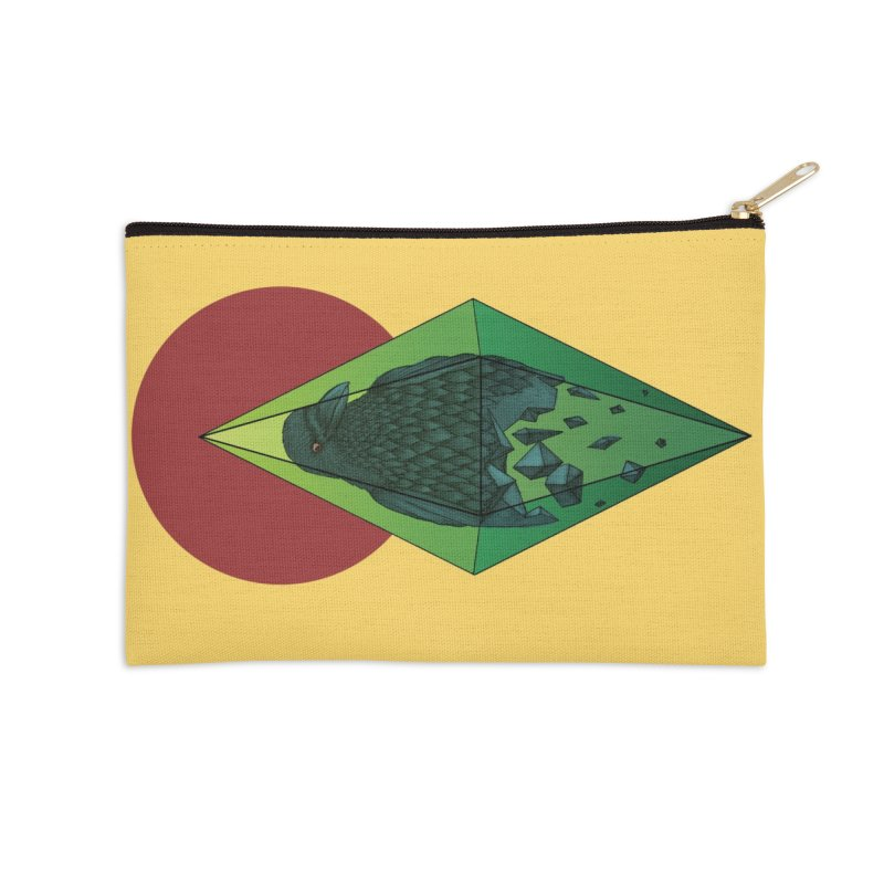 Geometric Crow in a diamond (tattoo style- Color version) in Zip Pouch by Beatrizxe