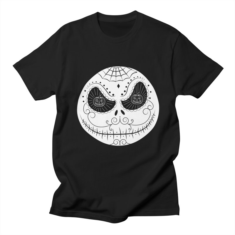Jack Skellington's Skull Sugar (Nightmare Before Christmas - Vector Mexican Skull) in Men's Regular T-Shirt Black by Beatrizxe