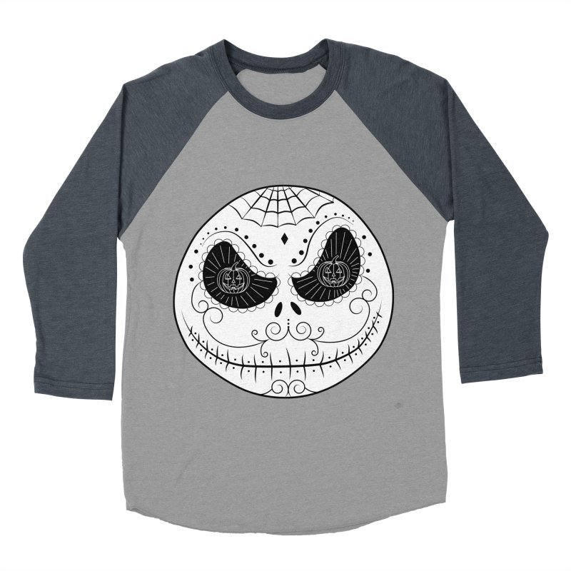 Jack Skellington's Skull Sugar (Nightmare Before Christmas - Vector Mexican Skull) Men's Baseball Triblend T-Shirt by Beatrizxe