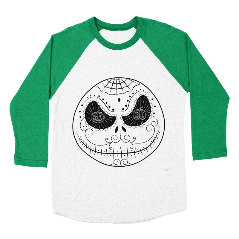 Jack Skellington's Skull Sugar (Nightmare Before Christmas - Vector Mexican Skull) Men's Baseball Triblend T-Shirt by Beatrizxe