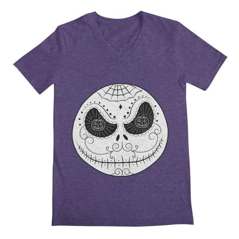 Jack Skellington's Skull Sugar (Nightmare Before Christmas - Vector Mexican Skull) Men's V-Neck by Beatrizxe