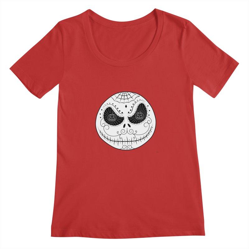 Jack Skellington's Skull Sugar (Nightmare Before Christmas - Vector Mexican Skull) Women's Regular Scoop Neck by Beatrizxe